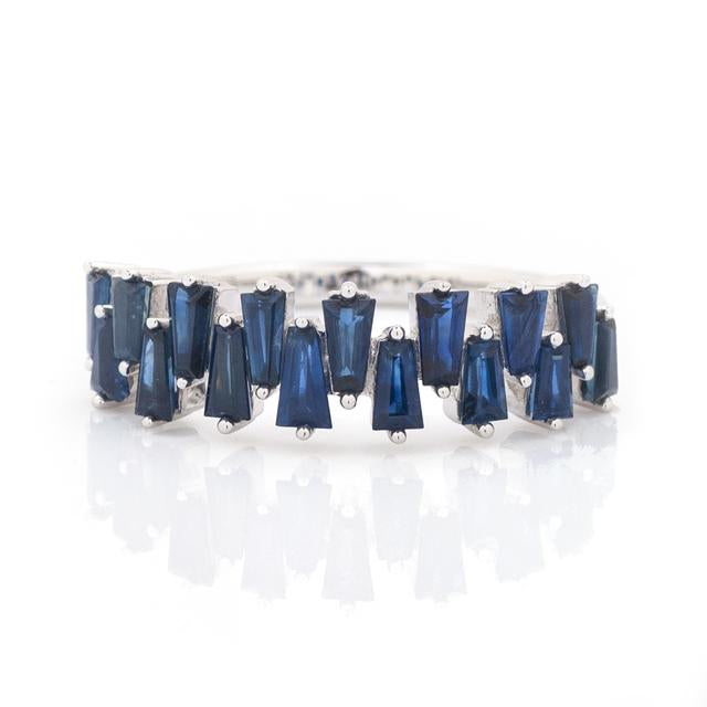 Tapered Baguette Sapphire Band 14k White Gold