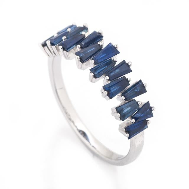 Tapered Baguette Blue Sapphire Ring 2