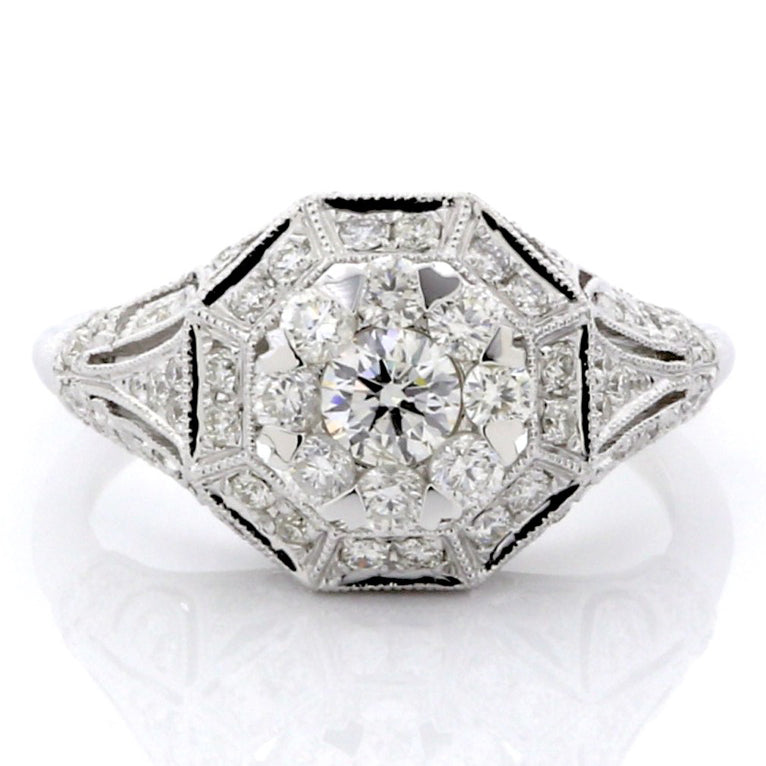 White Diamond Illusion Antique Shield Ring 14K White Gold