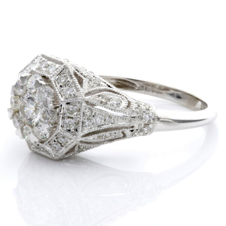 White Diamond Illusion Antique Shield Ring