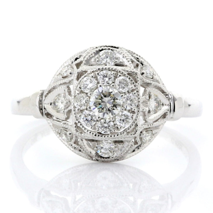 Antique diamond illusion shield ring 14k white gold