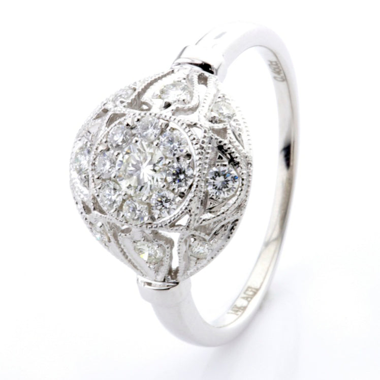 Antique diamond white gold ring