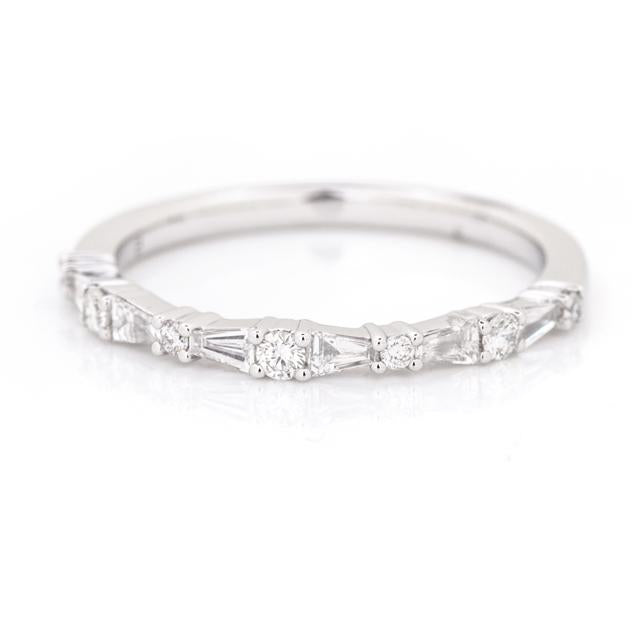 Round and Tapered Baguette Diamond Band 14k White Gold