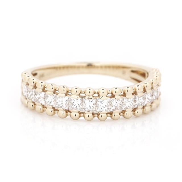 Princess Diamond and Bubble Wide Ring 14k Yellow Gold