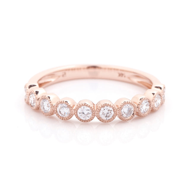 Diamond bezel milgrain stacking band 14k rose gold 2