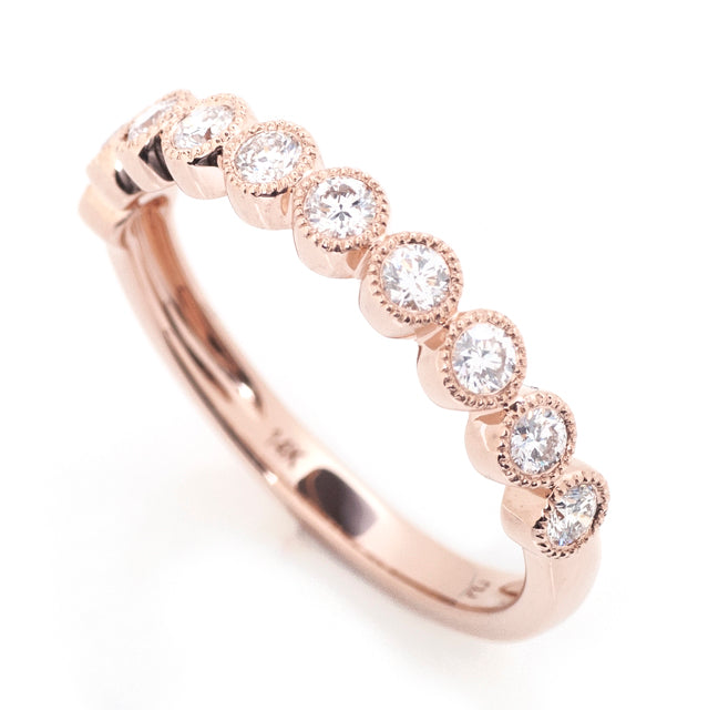 Diamond bezel milgrain stackable band 14k rose gold