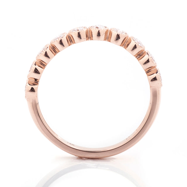 Diamond bezel milgrain stacking ring