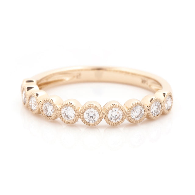 Diamond bezel milgrain stacking band 14k yellow gold