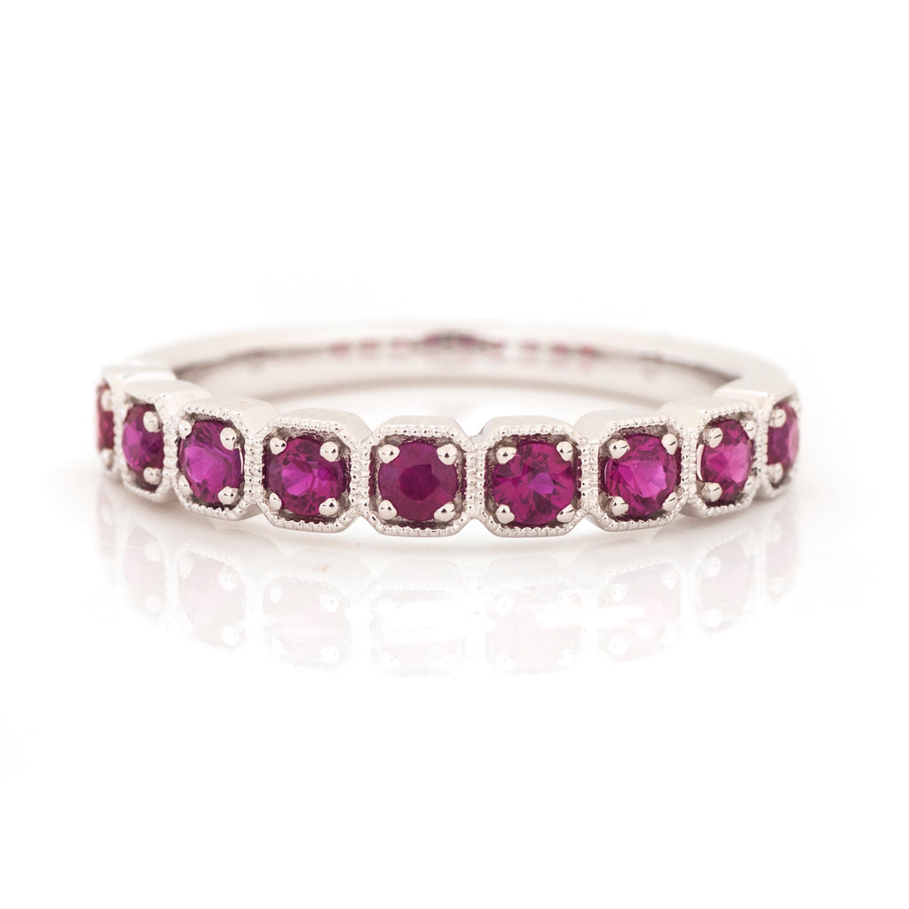 Ruby Cushion Milgrain Stacking Ring 14k White Gold