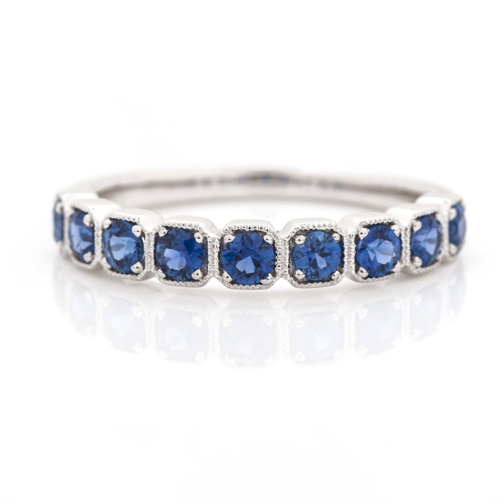 Sapphire Cushion Milgrain Stacking Ring 14k White Gold