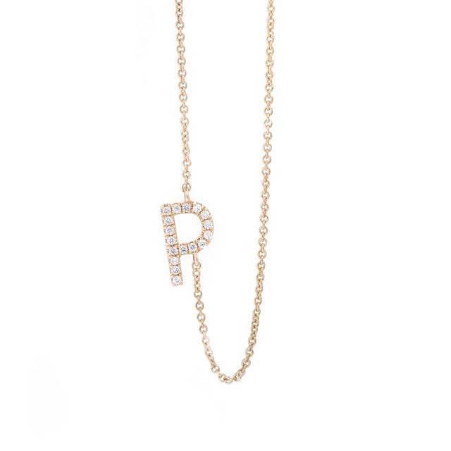 Diamond Letter P Monogram Necklace 14k Yellow Gold