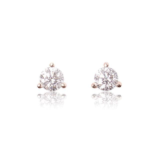 half carat total weight diamond stud earrings 14k rose gold