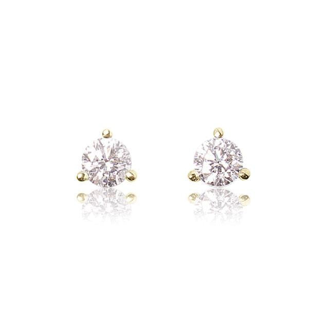 half carat total weight diamond stud earrings 14k yellow gold