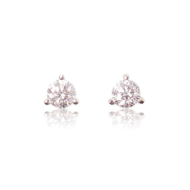 0.50ct round diamond stud earrings 14k white gold