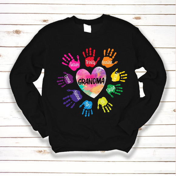 Grandma and Grandkids Heart Colorful hands Shirt