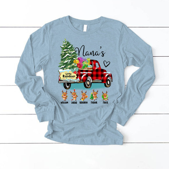 Christmas - Nana's little reindeer | Personalized Long Sleeve T-Shirt