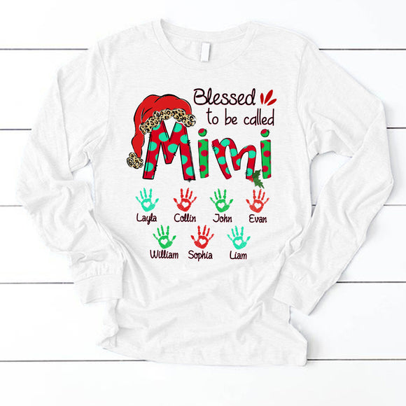 Christmas - Blessed To Be Called Mimi | Personalized Long Sleeve T-Shirt