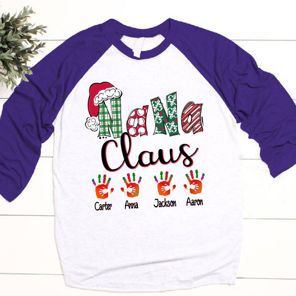 Nana claus art - Christmas | Personalized Baseball T-shirt