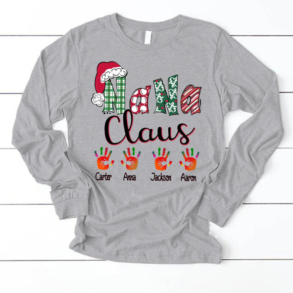 Nana claus art - Christmas | Personalized Long Sleeve T-Shirt