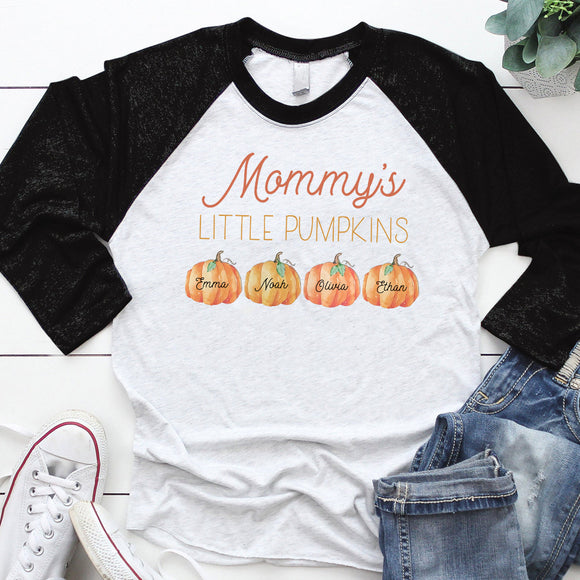 Mommy's Little Pumpkins | Personalized Baseball T-shirt