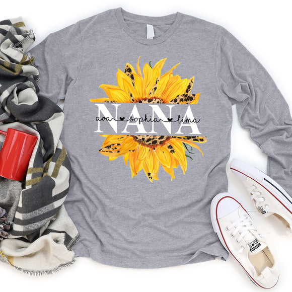 Nana Sunflower | Personalized Long Sleeve T-shirt