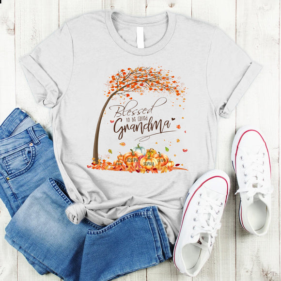 Blessed To Be Called Grandma-Fall Art | Personalized T-Shirt