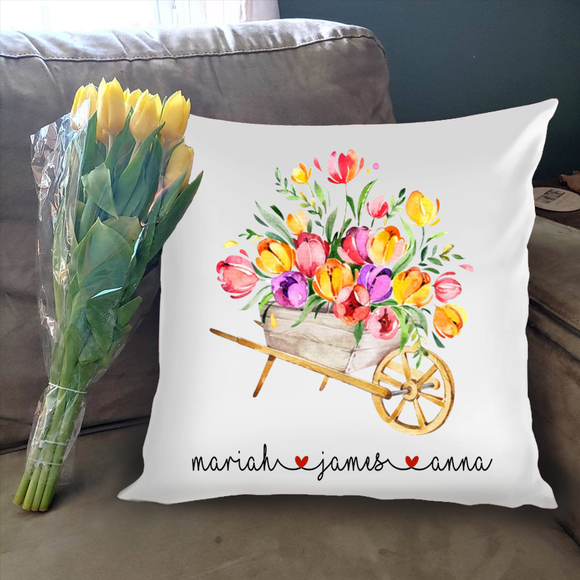 Personalized Grandkid'S Name With Flower Pillow - Pofily