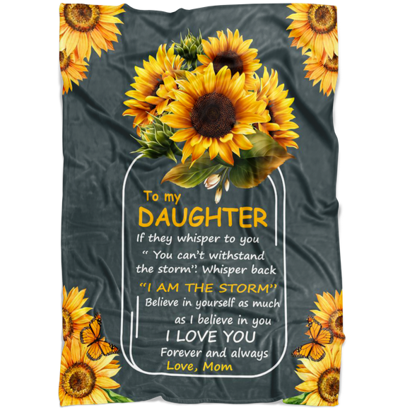 To My Daughter - Sunflower | Personalized Blanket