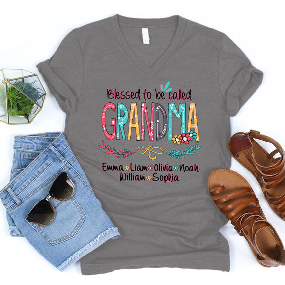 Blessed to be called Grandma | Personalized V-neck shirt - Pofily