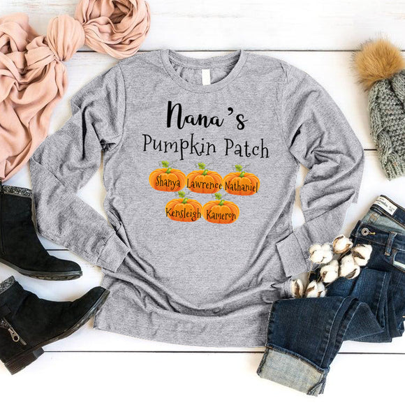 Nana's Pumpkin Patch | Personalized Long Sleeve T-Shirt