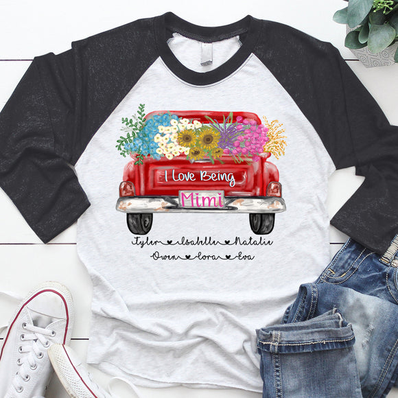 I Love Being Mimi Truck Flowers | Personalized Baseball T-shirt