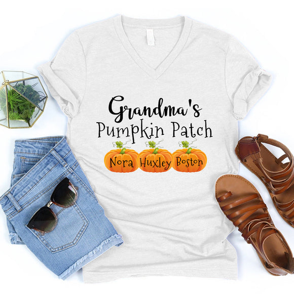 Grandma's Pumpkin Patch | Personalized V-neck shirt