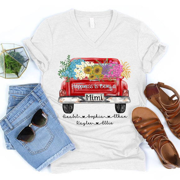 Happiness Is Being A Mimi - Truck Flowers | Personalized V-neck shirt