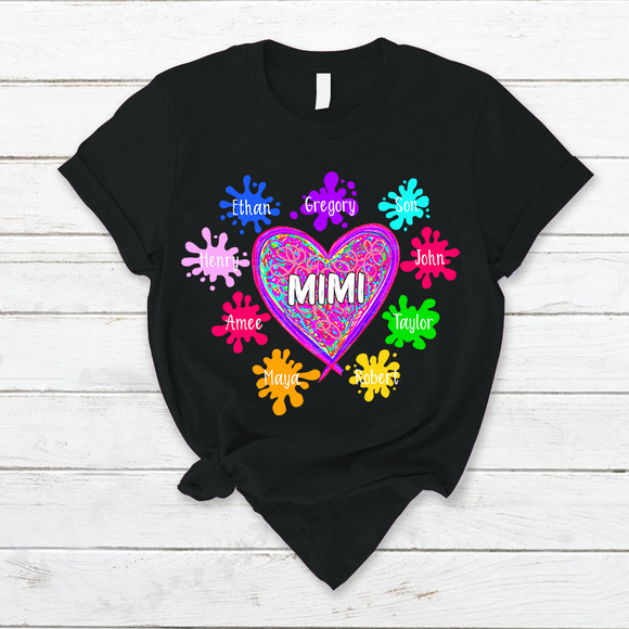 Mimi And Grandkids Heart Shirt