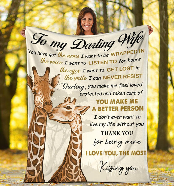 Gift For My Darling Wife - I Love You The Most, Giraffe Blanket