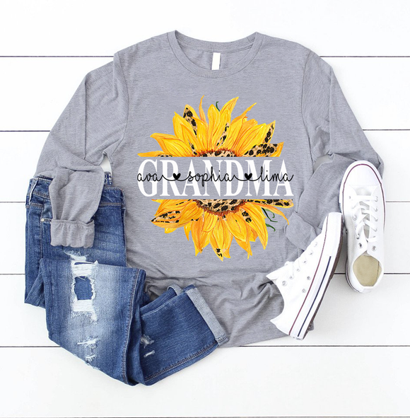 Grandma Sunflower | Personalized Long Sleeve Shirt - Pofily