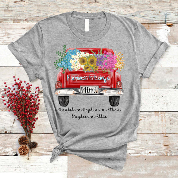 Happiness Is Being A Mimi - Truck Flowers Christmas | Personalized T-shirt