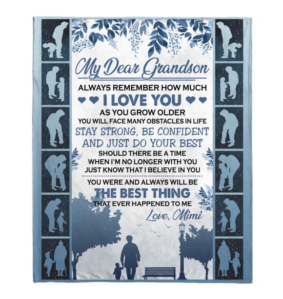 Gift For Grandson-Always Remember How Much I Love You-Love Mimi Personalized Blanket