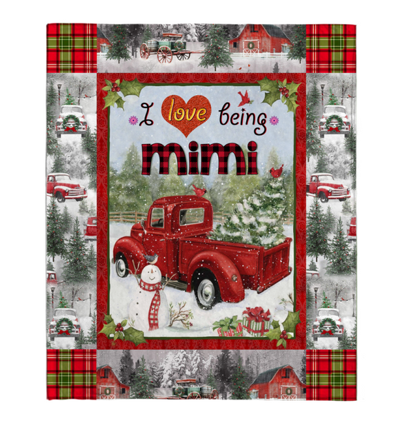 Christmas Gift For Grandma-I Love Being Mimi Personalized Blanket