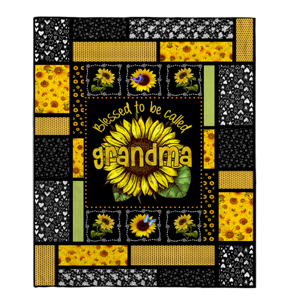 Gift For Grandma-Blessed To Be Called Grandma Sunflower Art Blanket
