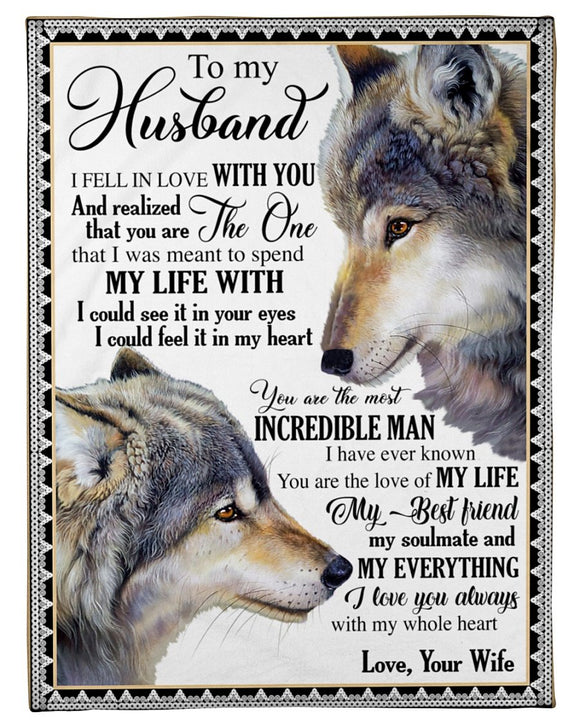 Namashops To My Husband - My Life With - Premium Fleece Blanket - namashops