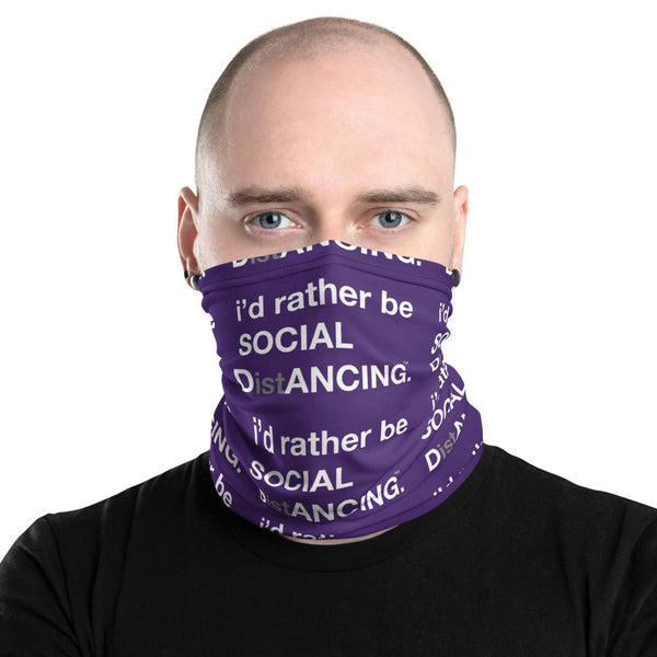 SOCIAL DistANCING Neck Gaiter Purple