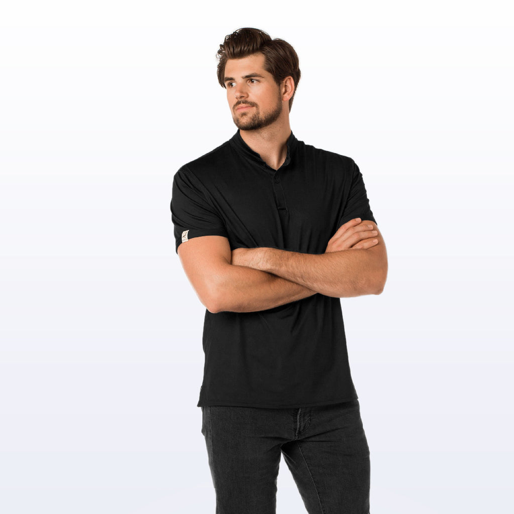 Sustainable mens polo with sunglasses holder ethically made in USA