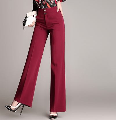 Pantalon Chino Straight Rouge Taille Haute