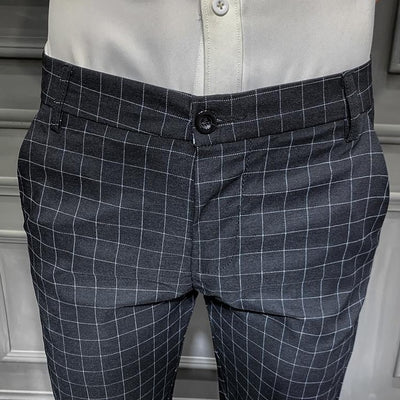 Pantalon Chino à Carreaux Noir