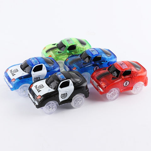 5.4cm Magic Electronics LED Car Toys With Flashing Lights Educational Toys Electronics Glow Car Lights Glowing Racing Toy