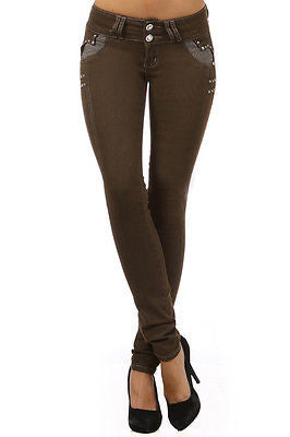 812cd385 ... Stretch Push-Up Levanta Cola Skinny Jeans Brown: Silver Diva DJ1287 USA  seller ...