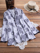 Vintage Print Stand Collar Button Long Sleeve Plus Size Shirt