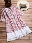 Vintage Floral Print Patchwork Hollow Short Sleeve T-shirts