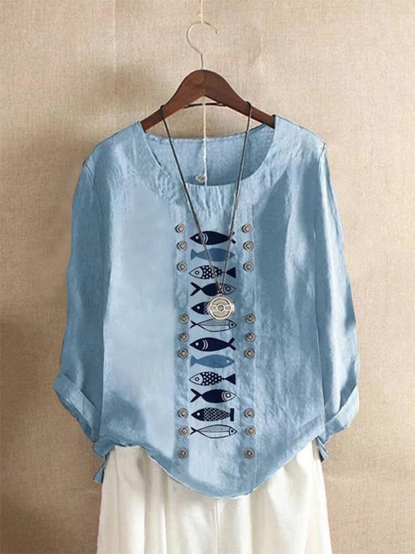 Shift Buttoned Round Neck Long Sleeve Shirts & Tops